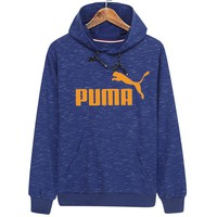 PUMA 2018 autumn and winter new casual long-sleeved hooded plus velvet sweater blue