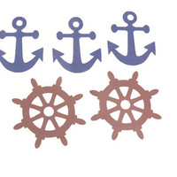 Anchors and Ship Wheels Die Cuts - Scrapbook Supplies - Set of 5