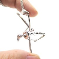 Pole Dancing Aerial Dance Themed Necklace in Silver | DOTOLY