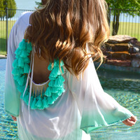 Indiana Ombre Dress- White/Turquoise