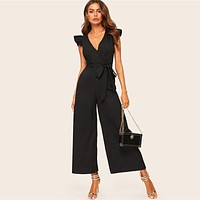 Elegant Surplice Wrap Belted Wide Leg Black Jumpsuit Women Sexy Deep V Neck Jumpsuit Skinny Ruffle Trim Jumpsuit