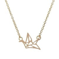 2017 New Fashion Friendship Handmade Necklace Lovely Origami Crane Necklaces for Women Cute Bird Long Chain Necklaces Party Gift