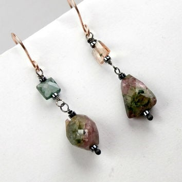 Tourmaline Dangle Earrings, Wire Wrapped Oxidized Silver, Rose Gold Fill Earrings, Mixed Metal, Raw Gemstone, Mineral Jewelry Minimalist