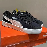 Puma classic casual men's and women's shoes, new open laughing canvas shoes, white shoes, thick-soled high-rise sneakers