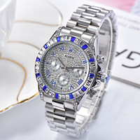 Rolex Fashion Inlaid Color Diamond Men's and Women's Steel Strap Watches