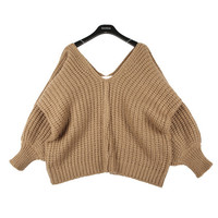 Cropped V-neck Sweater with Balloon Sleeves | FashionShop【STYLENANDA】