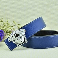 Versace Collection Italy Men's Silver Buckle Logo Blue Leather Versace Litchi Stria Belt
