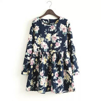 Round-neck Print Long Sleeve Dress Skirt One Piece Dress [4917814660]