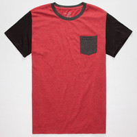 Blue Crown Tri Color Mens Pocket Tee Red  In Sizes