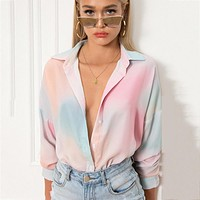 2020 new women's fashion tie-dye printing drop-shoulder long-sleeved cardigan top