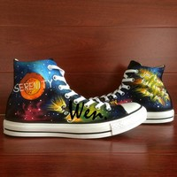 Wen High Top Hand Painted Athletic Shoes Serenity Firefly Night Sky Design Custom Man Woman's Canvas Portable Sneakers for Gift