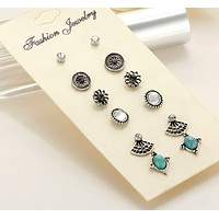 High quality earrings retro turquoise pairs of 6 pairs of earrings set