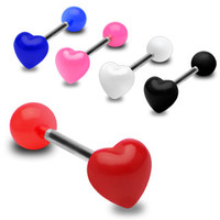 Acrylic Heart Tongue Ring Piercing Body Jewelry Barbell