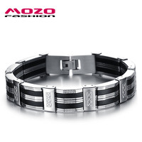 Mozo Fashion Trendy Silicone Stainless Steel Link Chain For Men