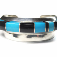 Vintage Turquoise Onyx Raised Inlay Cuff Bracelet Navajo Sterling 6 Inches
