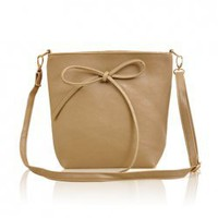 Women's Bag With Cute Bowknot and One Shoulder Solid Color
