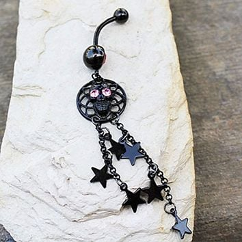 Black PVD Plated Alien Skull and Stars Dangle WildKlass Navel Ring
