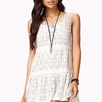 FOREVER 21 Crochet Lace Top Ivory Medium
