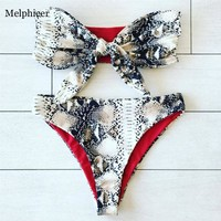 Melphieer Snakeskin Bikini Pad Push up Swimsuit Brazilian Swimwear Chest Bow Vintage Swimming Suit for Women maillot de bain NEW