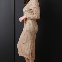 Shredded Spine Knitted Maxi Sweater