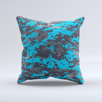 Bright Blue and Gray Digital Camouflage  Ink-Fuzed Decorative Throw Pillow