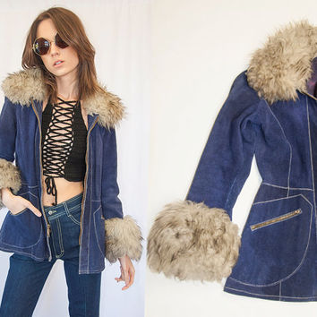 70s Blue Suede Suede Shearling Fur Trim Penny Lane Coat XS Small Shaggy Vintage Mongolian Afghan Leather and Fur Hippie Jacket mod Parka