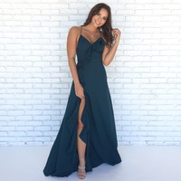 Charlene Assymetrical Ruffle Maxi Dress In Teal