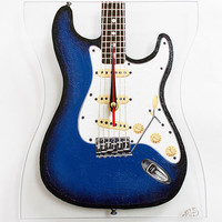 Hand painted Blue Fender Electric Guitar Wall Clock Custom order Home decor Wall decor Glass clock Gift for him or for her Gift for musician