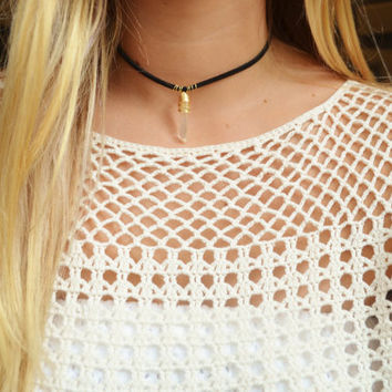 Flat Black Leather Choker Necklace with Gold Wire Wrapped Crystal Pendant