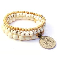 yoga mala boho chic set of white bracelets with vintage coin