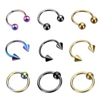 18 Pieces Captive Bead Ring BCR and Horseshoe Circular Barbell CBR (Nose, Ear) 18 Gauge 5/16""