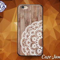 White Mandala Circle Floral Wood Grain Flowery Cute Case For iPhone 5 5s 5c and iPhone 6 and 6 Plus + and iPhone SE iPhone 7 Plus Case