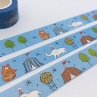 Circus party tape 10M white elephant brown bear circus tent washi tape circus party invitation deco sticker tape party planner sticker tape