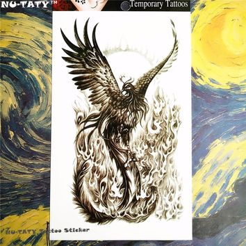 Nu-TATY Black phoenix Temporary Tattoo Body Art, 12*20cm Flash Tattoo Stickers, Waterproof Fake Tatoo Henna Tatto Wall Sticker
