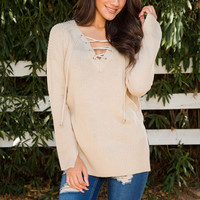 Sofie Lace Up Sweater