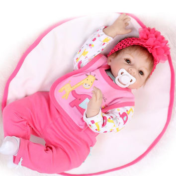 """New 22"""" Lovely doll reborn babies for sale silicone reborn baby dolls munecas reborn girls toys birthday gift"""