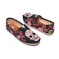 Floral Skull Halloween Casual Shoes