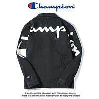 Champion 2018 new big back logo tide brand men and women models hole denim jacket Black
