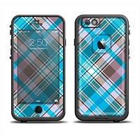 The Gray & Bright Blue Plaid Layered Pattern V5 Apple iPhone 6 LifeProof Fre Case Skin Set