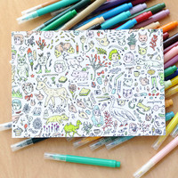 Color & Send Doodletown Postcard