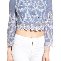 KENDALL + KYLIE Eyelet Off the Shoulder Crop Top | Nordstrom