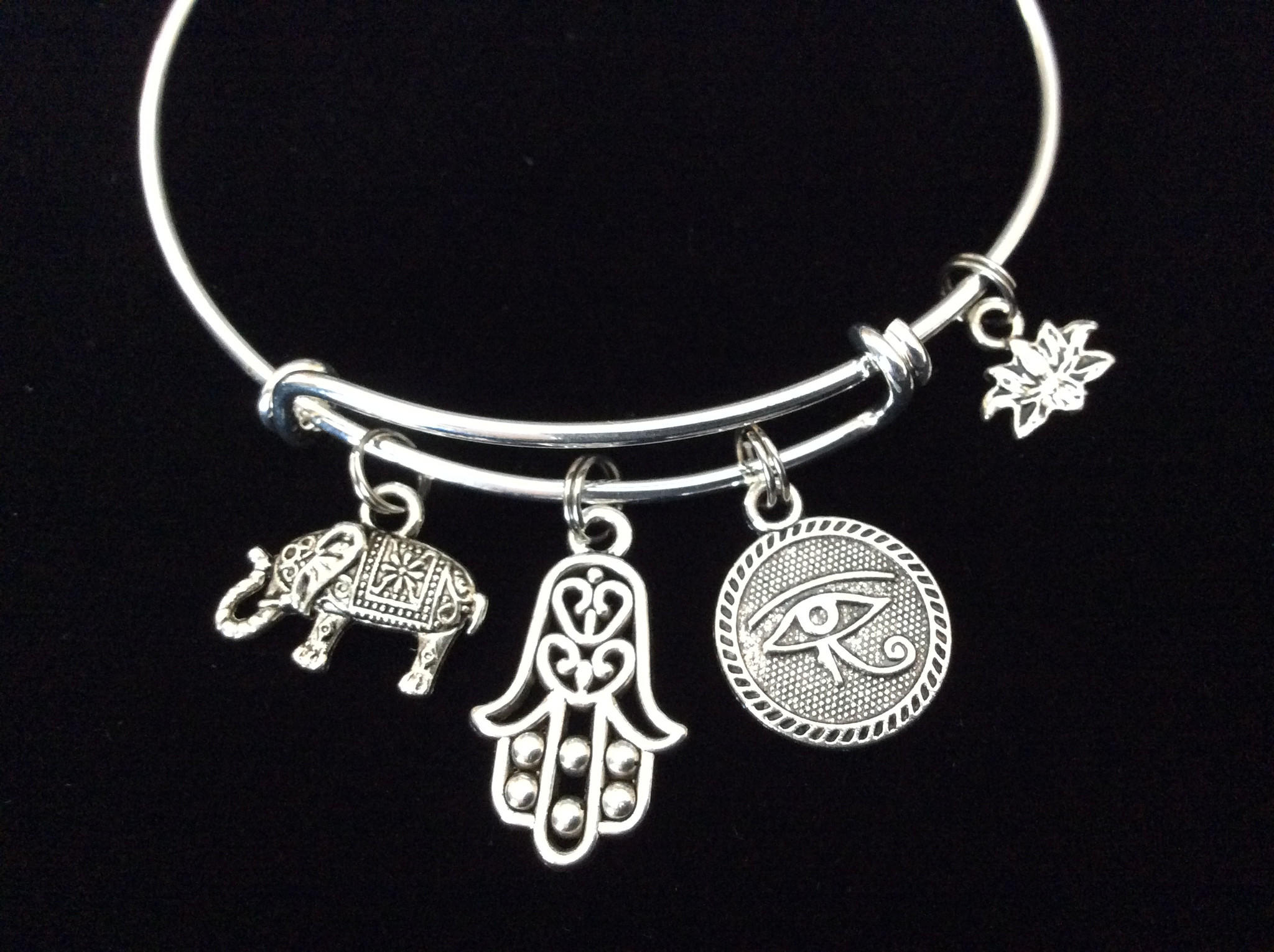 Image of Luck, Protection, New Beginnings, Enlightenment Yoga Inspired Charms on a Silver Adjustable Bangle Charm Bracelet Expandable