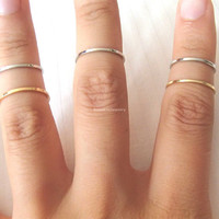Set of 8 knuckle rings - Gold and Silver, minimalist knuckle rings, midi rings, mini rings, silver ring, gold ring, circle ring