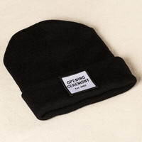 Opening Ceremony Patch Beanie Knitted Ski Cap Autumn Winter Warm Fashion Black Cuffed Skully Hat