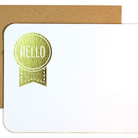"""Die Cut """"Hello"""" Notes, Gold, Set of 24, Cards"""