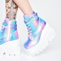 New high heels women's colorful slope heel side zipper boots children's large size women's shoes