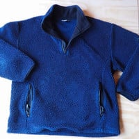 vintage 90's deep pile fleece pullover // dark indigo color // patagonia style // woodsy // rustic // unisex // size medium - large