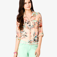 Relaxed Floral Chiffon Shirt