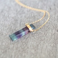 Fluorite Vertical Bar Necklace