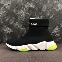 Balenciaga Speed Trainers With Tricolor Sole Black